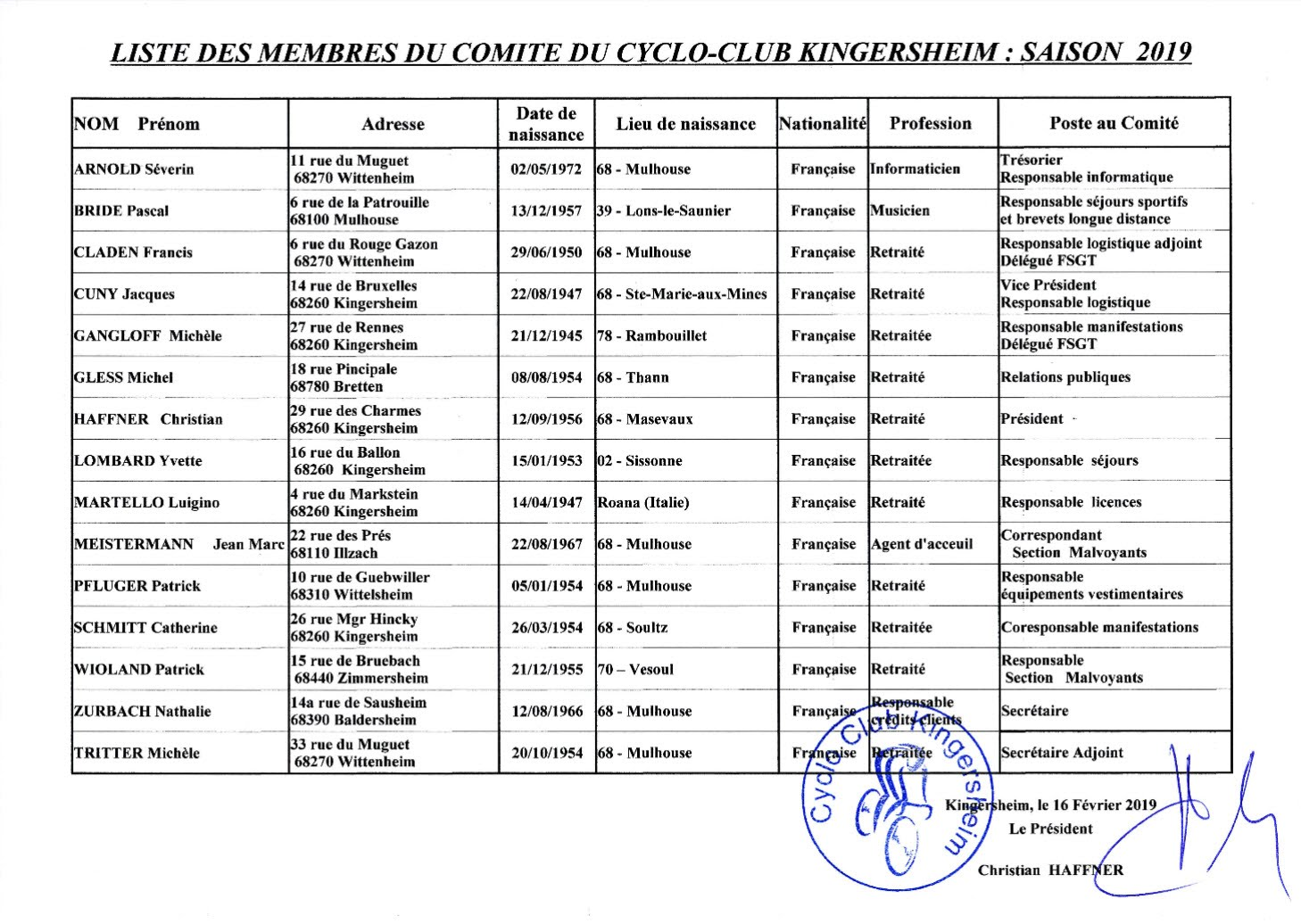 Composition Comité 2019